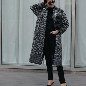 ZARA   Leopard Alpaca Wool Coat
